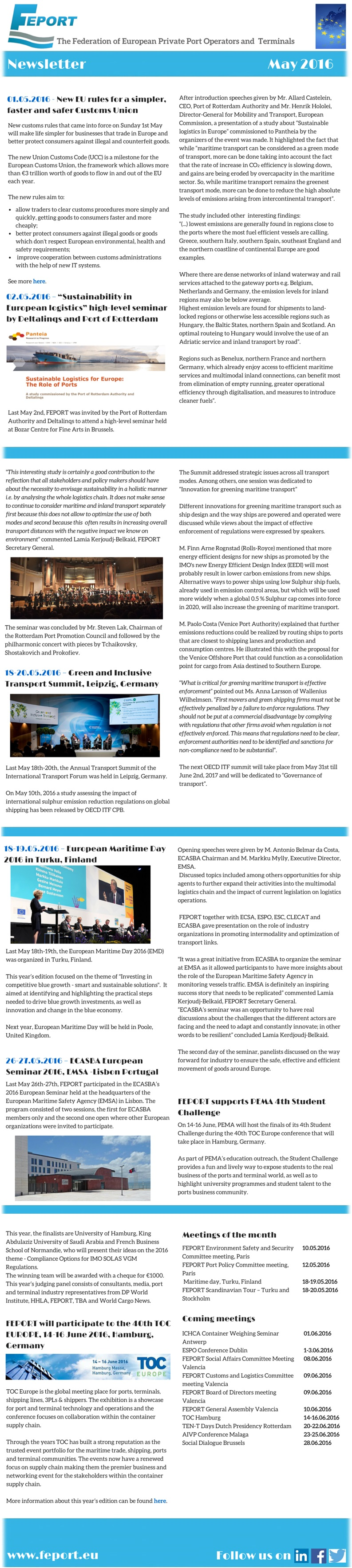 FEPORT External Newsletter May 2016 all
